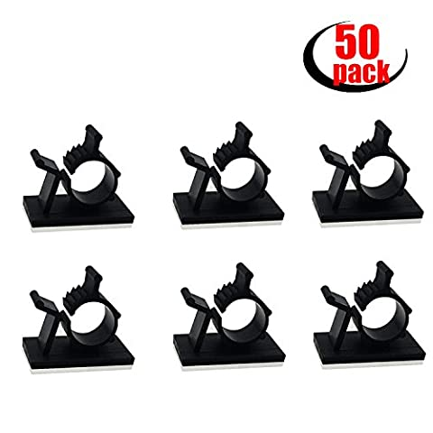 Adjustable Cable Clips - 50Pcs Adhesive Nylon Wire Clamps Cable Organizer Desk Wall Computer Electrical Cord Cable Ties, Plastic Cable Management System for