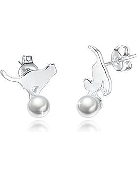 Fashmond Ohrstecker Silber 925 Ohrschmuck mit Perlen Geschenke für Damen Kinder Frauen Mädchen Jungen Tiere Katze...