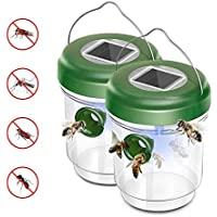 Z- overlord - Trampa para Avispas (2 Unidades, con luz Solar, luz LED, atrae a los Mosquitos y a los Insectos, fácil de llenar con Cebo y atrapa Avispas y Moscas, sin Veneno)
