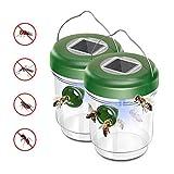 Wespenfänger Wasserdichtheit Wespenfalle Fliegenfalle mit LED-Licht Lockstoff für Gelbe Jacken, Bienen in Hausgarten (2)