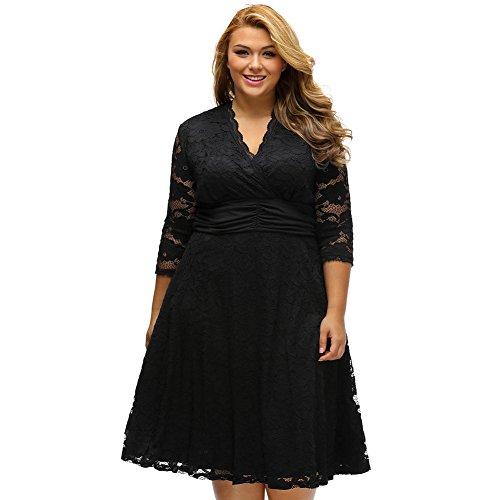 Yueyuefa Black Plus surplice cou robe à la taille robe de dentelle floraux Swing Black