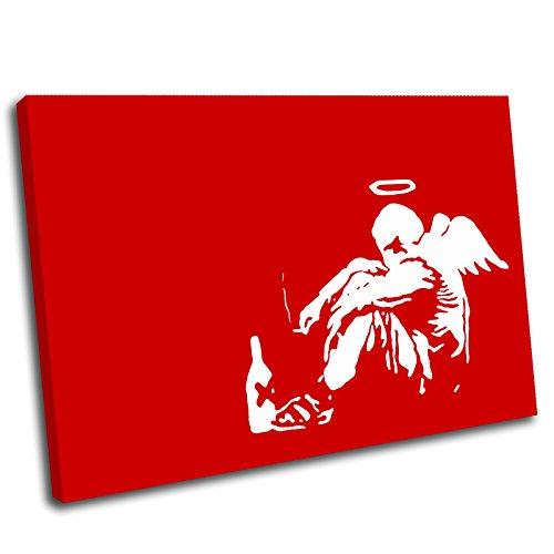 Canvas Culture Kunstdruck auf Leinwand, Motiv Bansky Fallen Angel Gerahmter Kunstdruck auf Leinwand Bild, rot, 120x80cm
