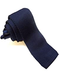 Sendmart Plain Knitted Slim Ties - square tip