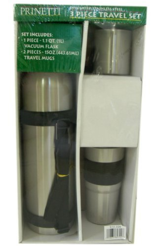 Deluxe Insulated Steel 3 pcs Travel Mug Set by Prinetti Deluxe Travel Mug