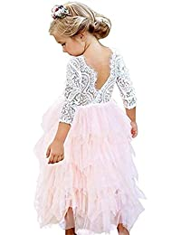 dd6dd985cde5 Toddler Big Flower Girls Dress Backless A-line Tulle Cake Tiered White Lace  Wedding Party