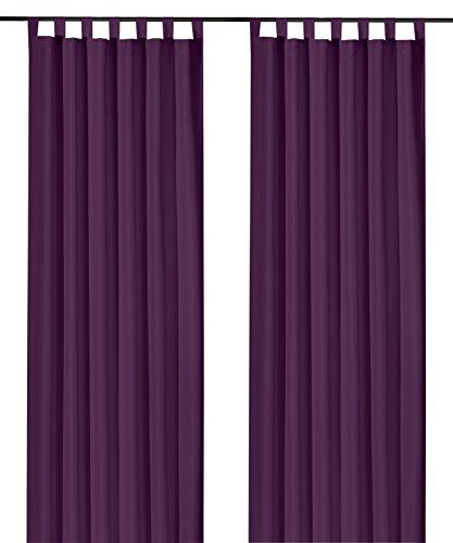 heimtexland ® Dekoschal mit Schlaufen und Kräuselband uni in lila HxB 245x140 cm BLICKDICHT aber Lichtdurchlässig - Vorhang natürlich matt violett einfarbig mit wunderschön leichtem Fall - Schlaufenschal Bandschal ÖKOTEX Gardine Typ117 Lila Uni