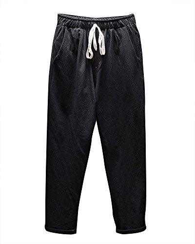 Herren Freizeithosen Leinen Hose Leichte Lockere Stoffhose Jogginghose Mit Gummizug Schwarz XL