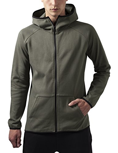 Urban Classics Athletic High Neck Interlock Zip Hoody, Felpa Uomo, Grün (Olive 176), Large