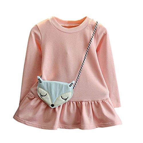 BURFLY Kinderkleidung ♥Baby Mädchen Outfits Kleidung Kleine Fox Satchel Pure Farbe Langarm Rock (Kleid + Fox Crossbody Tasche) (4 Jahre alt, (Ideen Rock Stars Kostüme)
