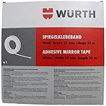 Würth Espejo cinta adhesiva blanco Ancho 25mm y longitud 25m–Cinta adhesiva de doble cara con tirantes polietileno y acrylatkleber