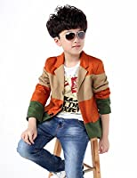 BYCR Boys' Three Colors Fashion Long Sleeve Cotton Blazer Jacket No. 71422192 (160 ( fit height 150-160cm ), rust red)