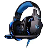 Rixow Gaming Headset, G2000 Pro Gaming Kopfhörer mit Mikrofon 3.5mm On-Ear Surround Sound Ohrhörer und Einstellbare Bass-Stereo Lautstärkeregelung für PC Laptop