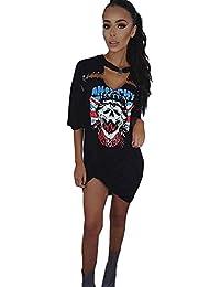 72a40b330340 OVERDOSE Damen Frauen Vintages Weg vom Schulter Rock Art Langes T-Shirt  Minikleid Long Mini