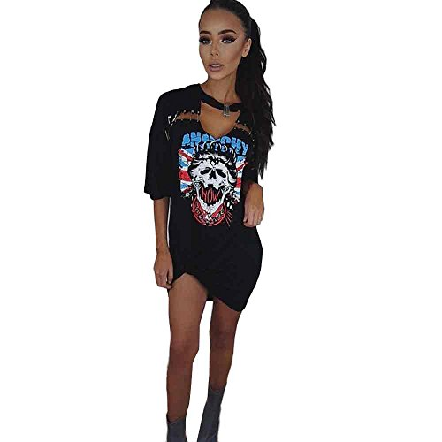 OverDose Damen Frauen Vintages weg vom Schulter Rock Art langes T-Shirt Minikleid Long Mini Dress (S, E-Schwarz) (Art-damen-gelb T-shirt)