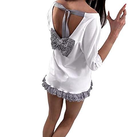 Chemisier Longra Femmes Dentelle noeud papillon Dos nu Bandage Manche longue Chemisier T-shirt (Asiatique Taille: XL, Blanc)