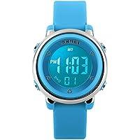 Reloj digital deportivo para niños, reloj para deportes al aire libre, resistente al agua, con cronómetro, alarma y luz LED, de color azul