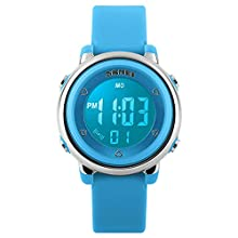 Kids Digital Sport Watch for Boys Girls, Kid Electrical Outdoor Waterproof Watches with Stopwatch Alarm 7 Color LED Luminescent for Youth Childrens - Blue