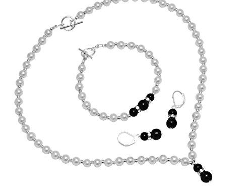Colore: Avorio/Nero Jet Faux perle di vetro gioielli set braccialetto, orecchini, collana