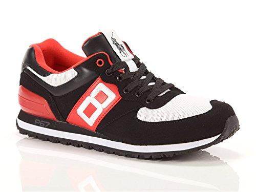 Ralph Lauren, Uomo, Slaton Numbr, Suede / Mesh, Sneakers, Nero, 44 EU