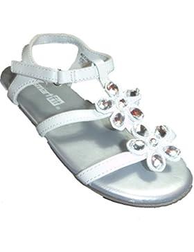 Smart Fit Baby Mädchen Kinder Sandalen Silber Weiß mit Glanzstein Blumen Sandaletten