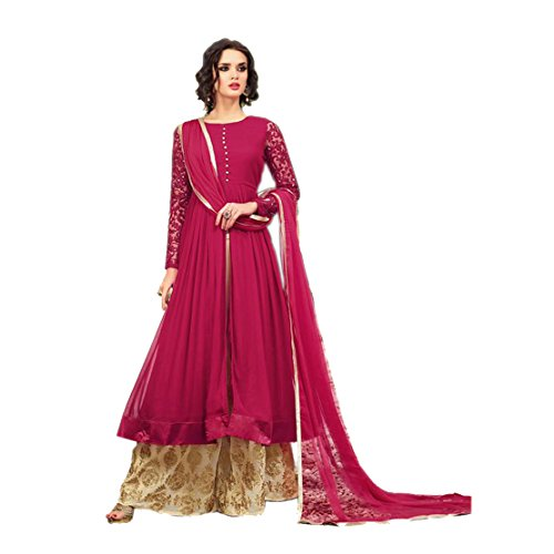 Ethnic Empire Women\'s Georgette Anarkali Suit (Ethnic_ER10226_Pink_Free Size)