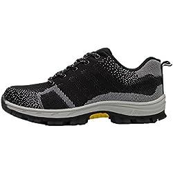 tqgold Zapatillas de Seguridad para Hombre Mujer, Zapatos de Trabajo con Punta de Acero (Negro,46 EU)