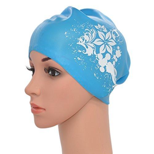 medifier Mujeres Ladies piscina de agua silicona elástica Gorro de natación Gorra Ear Wrap gorro para pelo largo adultos diseño de flores, azul celeste