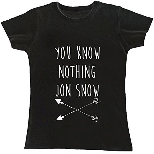 T-shirt DONNA cotone BASIC super vestibilità top qualità - YOU KNOW NOTHING JON SNOW divertenti humor MADE IN ITALY (M, NERO)