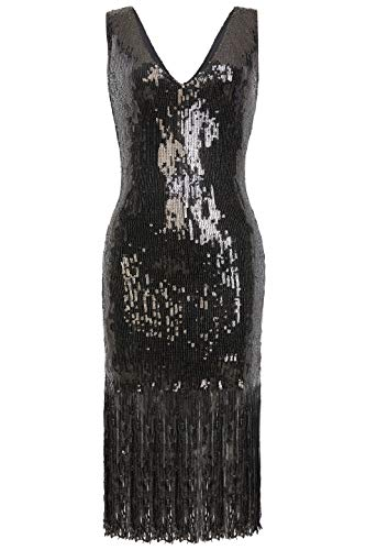 Coucoland Damen Pailletten Kleid Sexy V Ausschnitt Night Club Cocktail Kleid 1920s Retro Stil Great Gatsby Motto Party Damen Fasching Kostüm Kleid (Schwarz, XL) (Cocktail Party Kostüm)