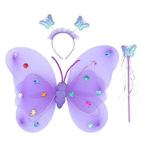 metterlingsflügel Zauberstab Stirnband blinkende Fee Phantasie Prinzessin Kostüm Set lila ()