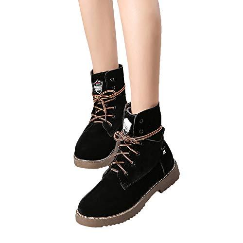 TianWlio Boots Stiefel Schuhe Stiefeletten Frauen Herbst Winter Mode Flache Unterseite Warme Schuhe Stiefel Student Beiläufig Schuhe Weihnachten Schwarz 40