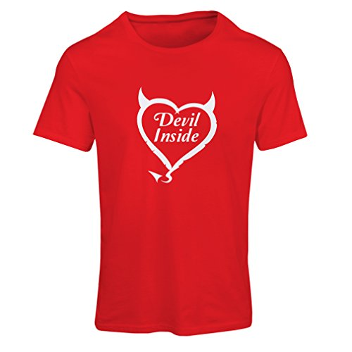 Frauen T-Shirt Devil Inside Devil Kostüme lustige Kleidung, Geschenke für Gamer, Cooler Slogan (Medium Rot Weiß) (Unicef Kostüm)