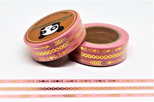 wolga-kreativ Washi Tape Set 3 schmale Bänder Gold rosa Masking Tape Dekoband Klebeband (Tape Rosa Masking)