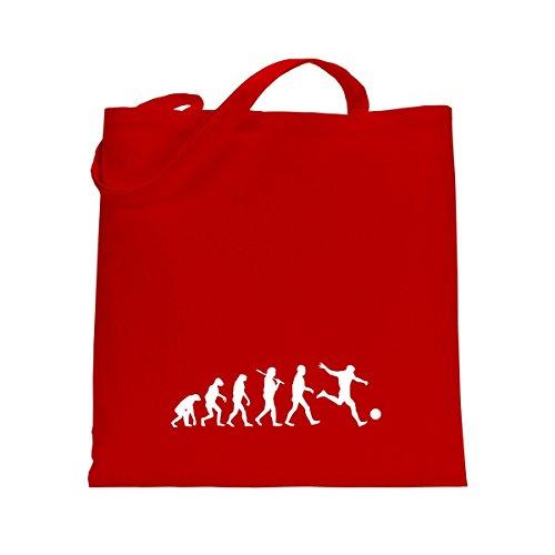Shirtfun24 Baumwolltasche EVOLUTION FUSSBALL Spieler Soccer, bottle (grün) rot