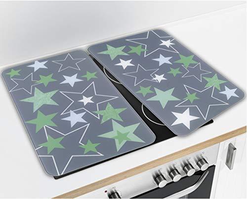 Wenko Herdabdeckplatte Universal Sterne Grün 2er Set, für alle Herdarten, Gehärtetes Glas, 52 x 30 x 5.5 cm