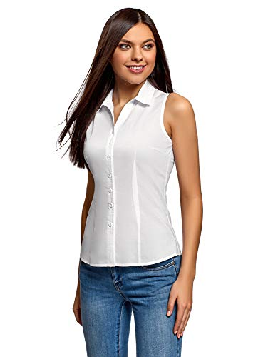 oodji Ultra Mujer Camisa Básica sin Mangas, Blanco, ES 36 / XS