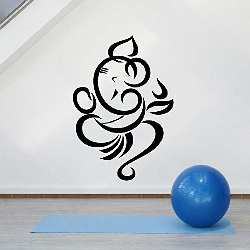 JXWR Abstrakte Wandapplikation Ganesha Gott Hinduismus Religion Religion Vinyl Fensteraufkleber Meditationsraum Schlafzimmer Innenwandbild 57x82 cm