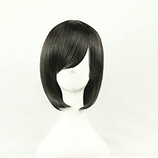 Womens Ladies Girls 32cm Black Short Hair Wigs High Quality Hair Carve Cosplay Costume Anime Party Bangs Full Sexy Wigs