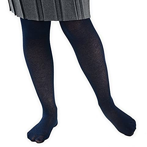 Girl's Plain School Uniform Footed Tights, Available Range of Colours and Sizes