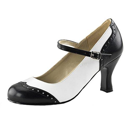 Style, escarpins femme-noir/blanc Schwarz (Schwarz)