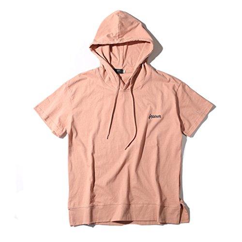 Honghu Uomo Moda Casuale Loose Comfort Cotone Hoodie Maniche Corte Shirt Camicia Rosa