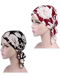 ZYCC Bufanda del pañuelo del algodón de Las Mujeres Sombrero de Chemo de Chemo del Headwear