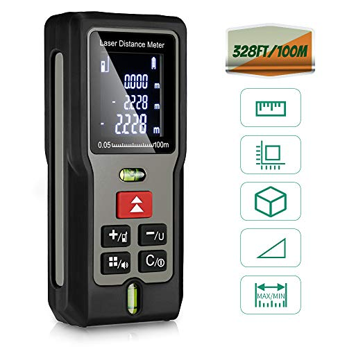 Telemetro Laser 100m Gblife, Misuratore Digitale di Distanza Portatile IP54 ad alta Precisione Misura Metro Palmare Laser, Digital Laser Distance Meter Range Finder da 0.05 a 100m
