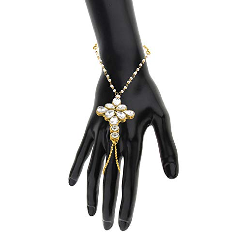 MEENAZ Fashion Jewellery Valentine Gifts Adjustable Freesize Gold Chain Bracelet Rings for Girls Women Couple Girlfriend Love Women American Diamond Ring Jewellery Set for Womens -Bracelet ring-08