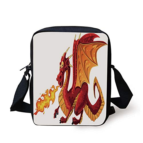 Dragon,Funny Fire Spitting Winged Cartoon Mascot Playroom Childish Princess Illustration,Orange Red Print Kids Crossbody Messenger Bag Purse -