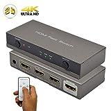 AMANKA HDMI Switch Conmutador HDMI 4K | 3 Entrada 1 Salida con el Control Remoto | Soportes Full HD 1080p,3D | para Portátiles, HDTV, DVD, PS3 y Xbox 360 y Más HDMI Aparatos