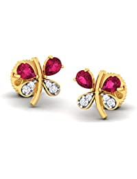 The House Of Diamonds 18KT Yellow Gold, Diamond And Ruby Stud Earrings For Women
