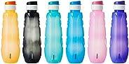 Amazon Brand - Solimo Plastic Water Bottle Set with Flip Cap (Set of 6, 1L, Circular Pattern)
