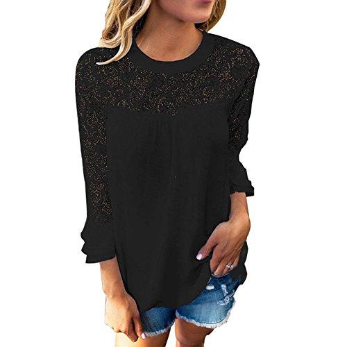 BAINASIQI Damen Casual Spitzen Chiffon Bluse Rundhals Langarm T-Shirt Tops Einfarbig (XL, Schwarz)