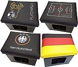 Design BierEx Bierkasten Sitz Spieltaktik Fußball Kissen Bierkastensitz für Bierkiste Hocker schwarz Aufsatz Bierkiste für Stehtisch (Spieltaktik)